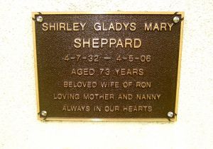 Sheppard, Mrs Shirley Gladys Mary