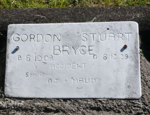 Bryce, Gordon Stuart, died because of an accident 10th December 1929