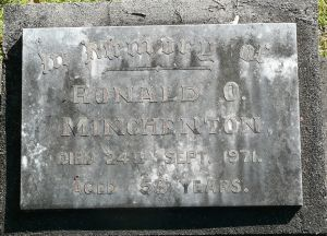 Minchenton, Ronald, died 24th September 1971