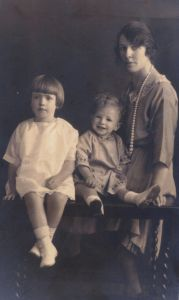 Agnes Kate Brooks (nee Clancy) and her 2 children Eileen Mary and Henry Kenneth circa 1923