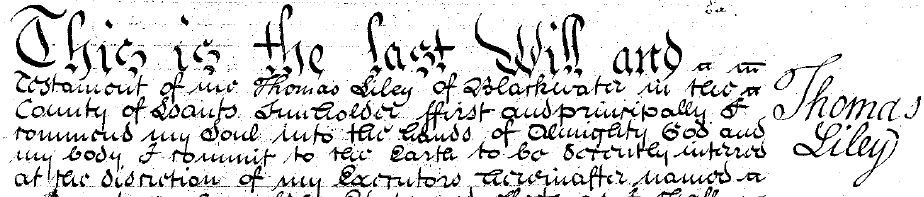 Will of Thomas Liley, of Blackwater, Hampshire, 1789, (Please click to view original)